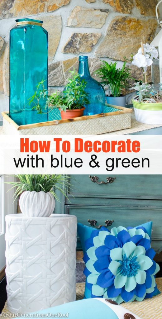 How to decorate with blue and green {summer vignette + entryway}