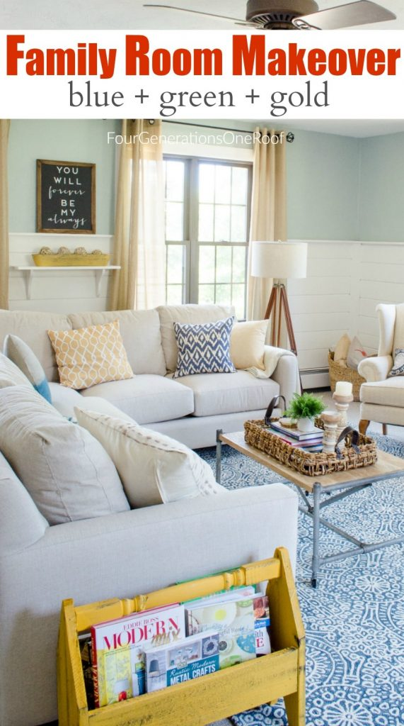 family room summer makeover - mixing blue, green and gold to create a coastal feel