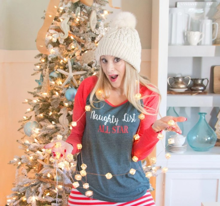 Christmas Pajamas 2016 | Naughty List | Striped Leggings | Plaid and Merry Sweatshirt