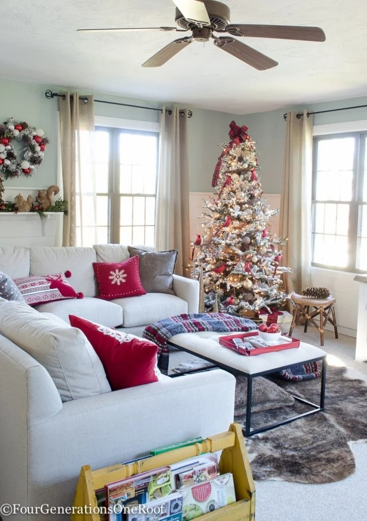 cozy plaid and hot chocolate | Red + Gold Woodland Themed Christmas Tree and Family Room