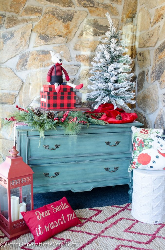 Christmas Entry-Way | Flocked Tree | Red Lantern| Vintage Christmas Pillows