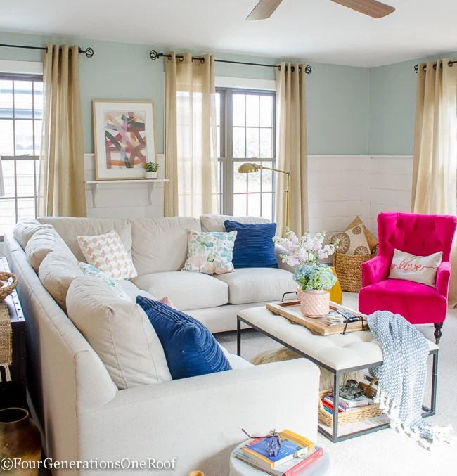 Blue + Pink Living Room Decorating Ideas - Four Generations One Roof