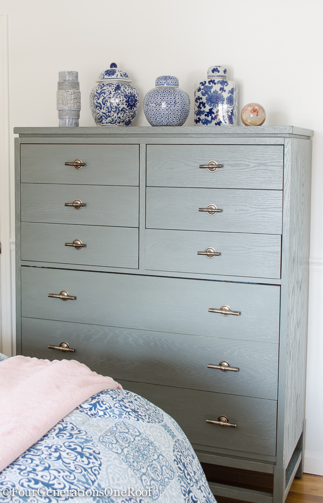 Christmas in July | how to make white bedroom walls look gorgeous | Dove colored high bureau
