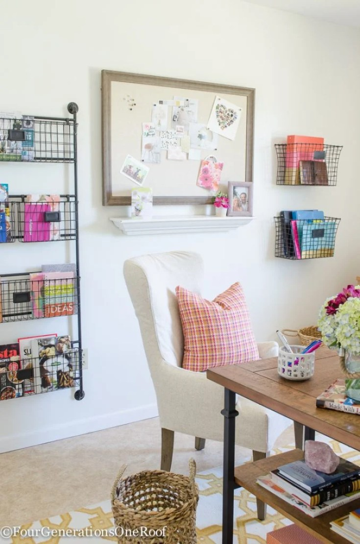 Colorful Modern Farmhouse Office Decorating Ideas | How to create a modern farmhouse office | Rustic + Industrial + Modern Office