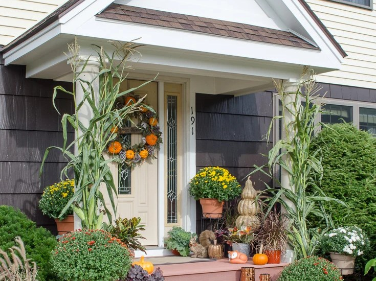 Harvest Front Door decked out for Fall with pumpkins and mums