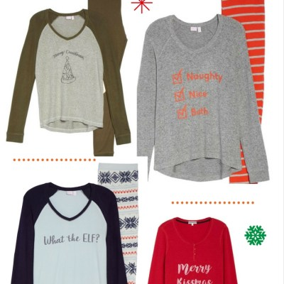 Graphic Striped Holiday Pajamas For Christmas Cards