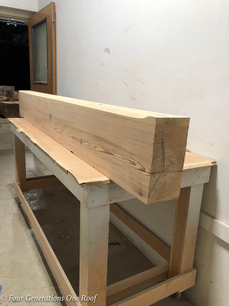 Sanded Yellow Southern Pine Wooden Beam Mantel