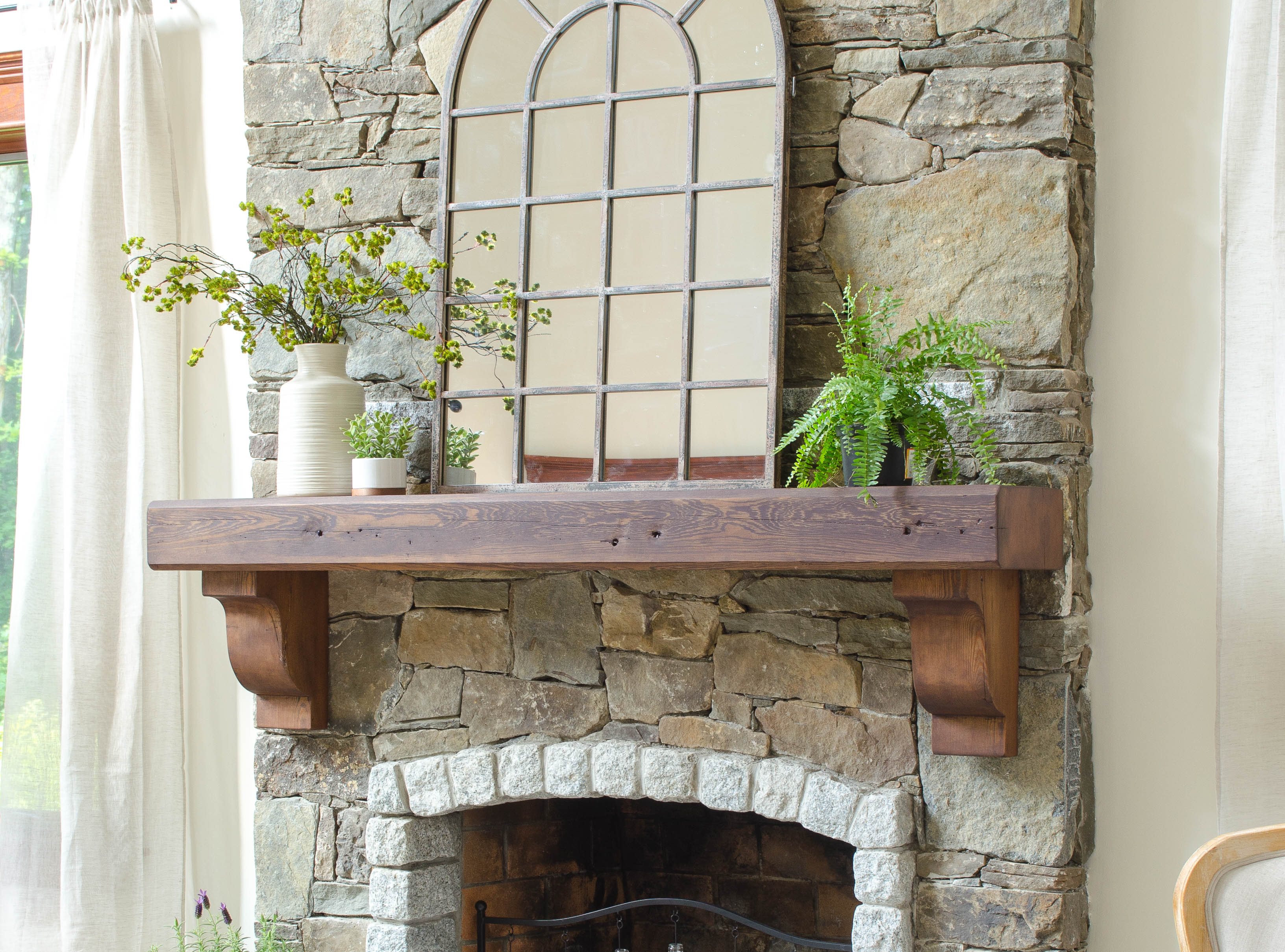 How to hang a wood mantel on a stone fireplace using rebar - Stone and wood fireplace ...