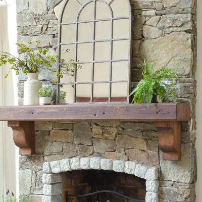 How To Hang A Wood Mantel on a Stone Fireplace using Rebar {before & after}