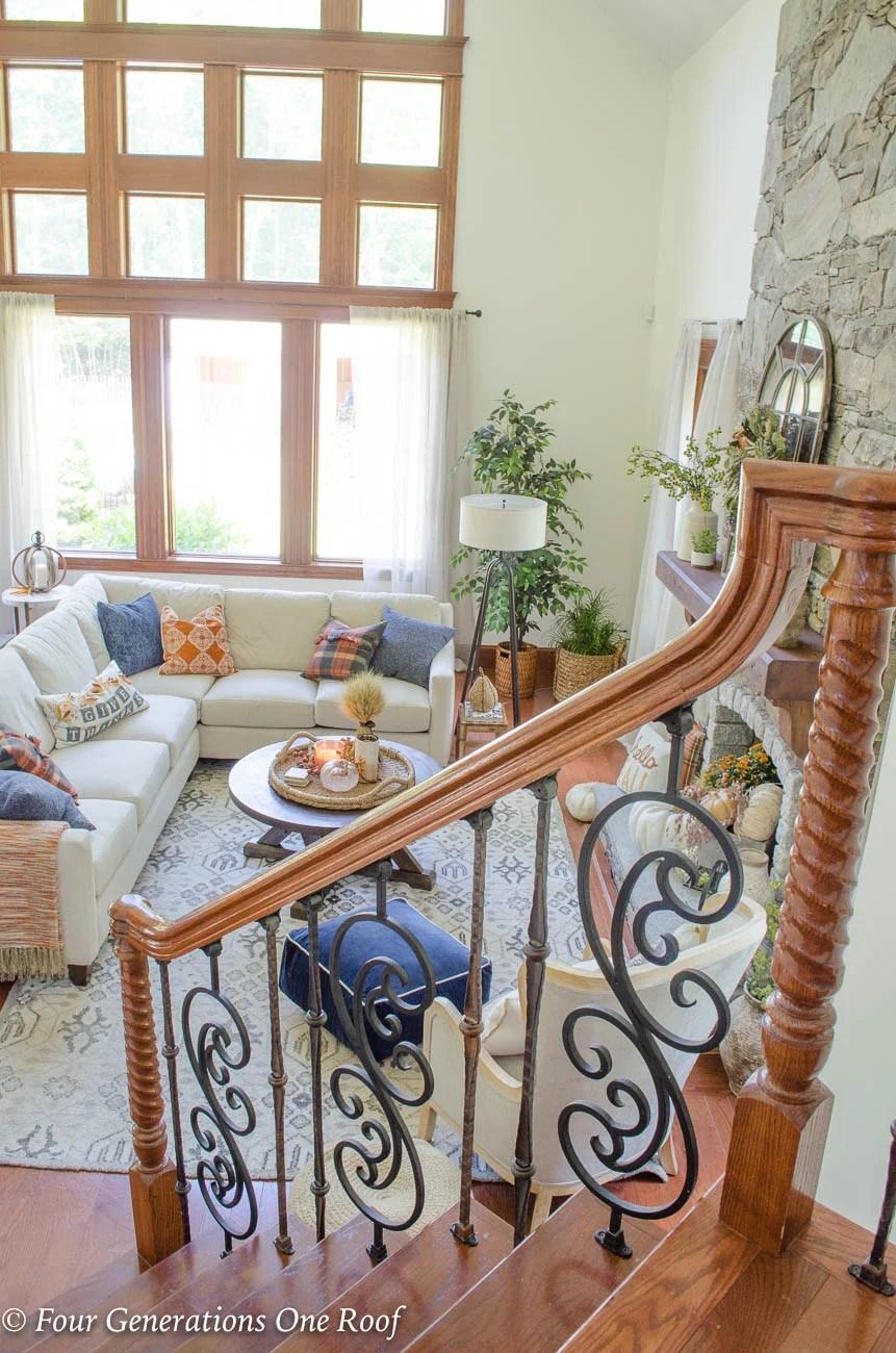 Simple Rustic Modern Fall Decor {Our Mediterranean Home Fall Tour} Neutral  Colored Pumpkins,
