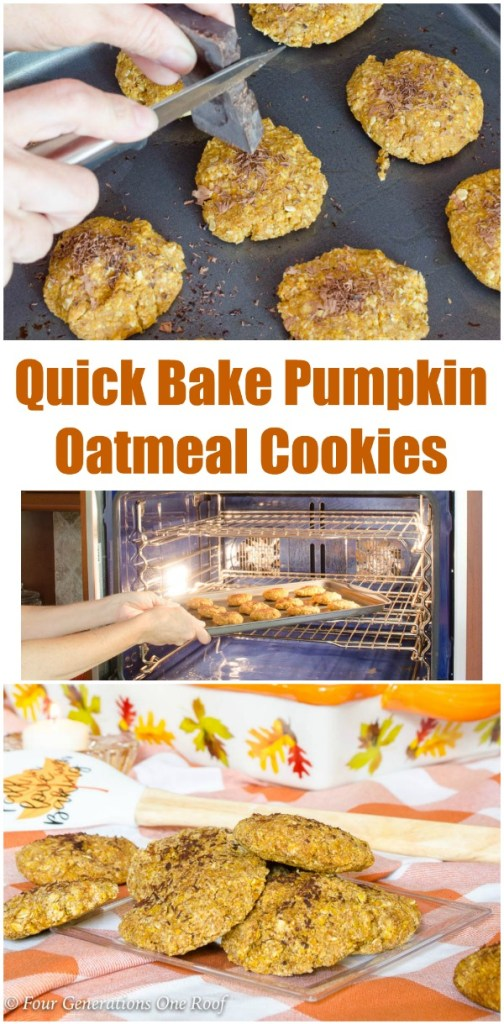 Quick Bake Pumpkin Oatmeal Cookies