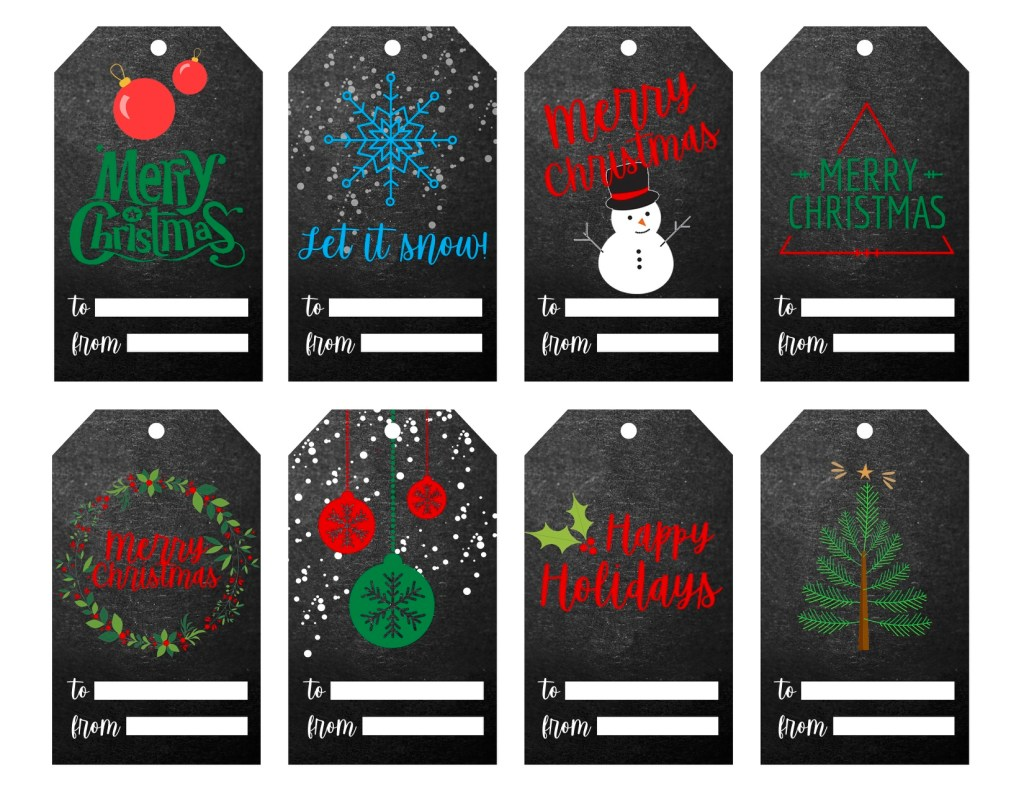 Black Chalk Christmas Gift Tag Printable