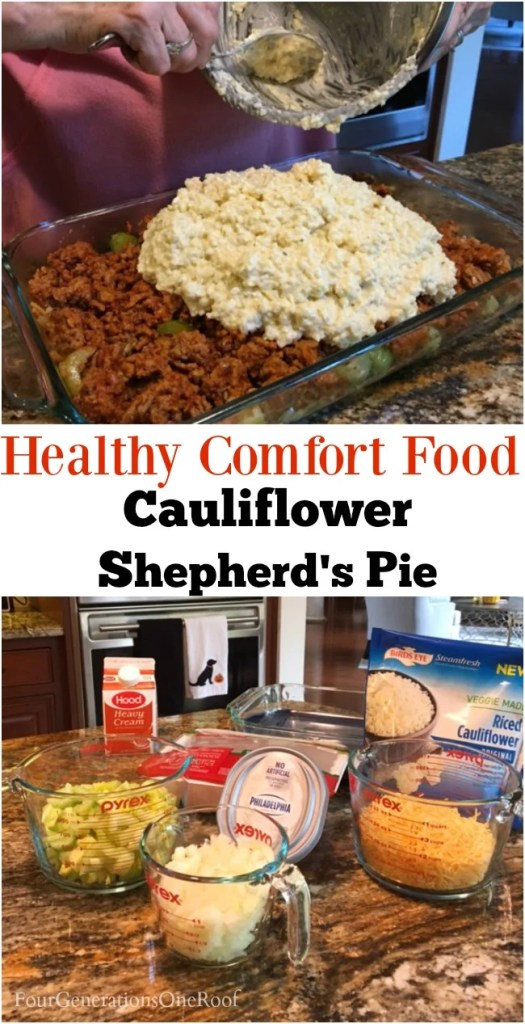 Moms Cauliflower Shepherd's Pie | Cauliflower rice as mashed potatoes, cream cheese, ground beef, milk