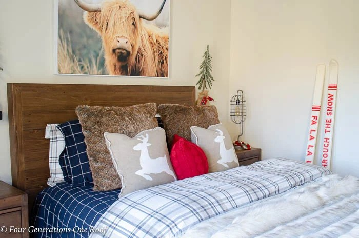 Nature Inspired Brown Plaid Christmas bedroom | Scottish Highland Art Work