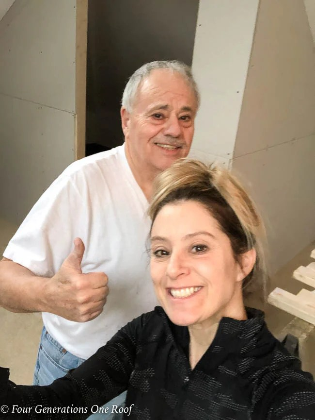 Jessica Bruno and her dad thumbs up closet built in 1 day