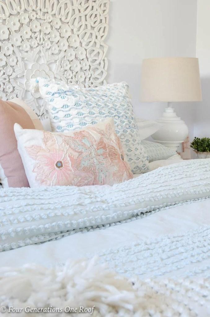 Mint Green bedding, textured blue pink green throw pillows