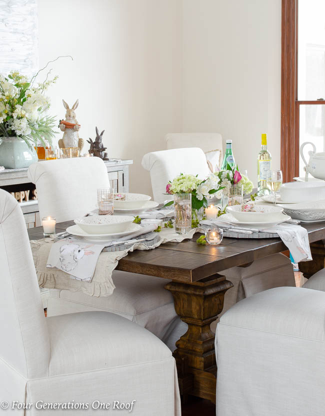 White and Gold Easter Decorating Ideas + Dining Room - Four ...
