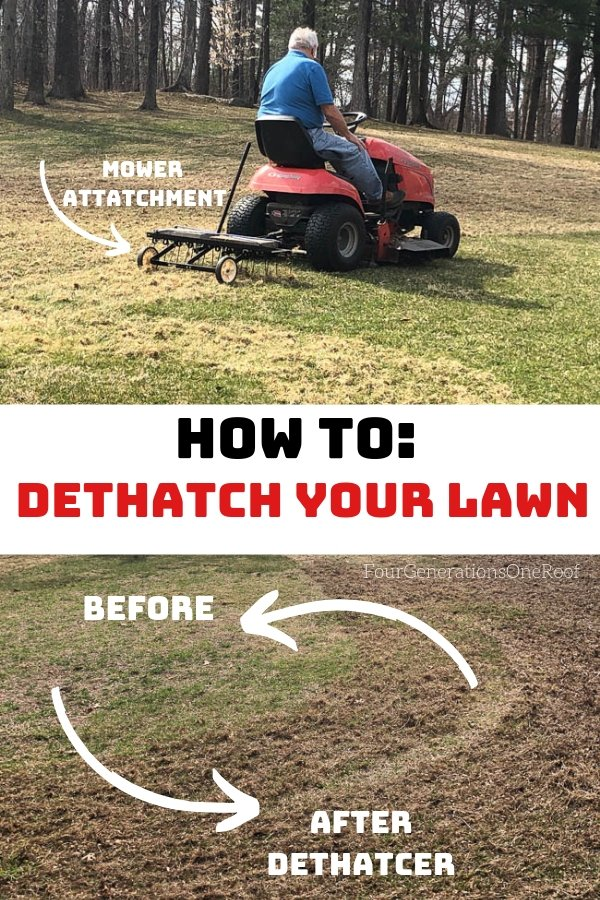 Lawn Dethatcher attached to lawn mower