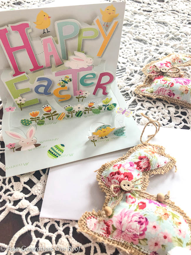 flower Easter bunny ornament with burlap and pop up Easter card