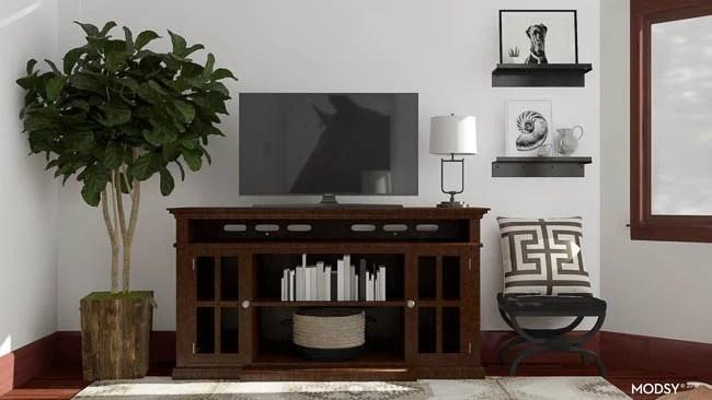 equestrian wall art, ralph lauren decor, dark wood media console
