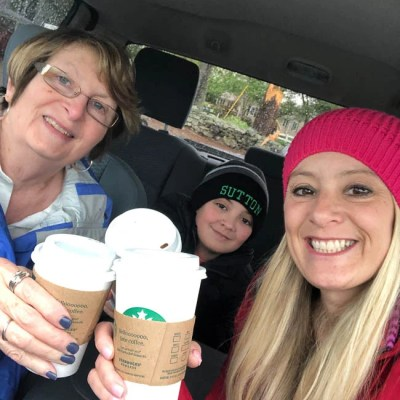 Jessica Bruno, her mom Connie and son on Mother's Day at Starbucks