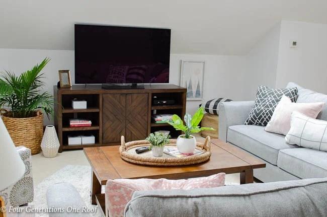Lady Loft Attic Living Room Grey Sectional rustic barn media console brown coffee table shag rug -15