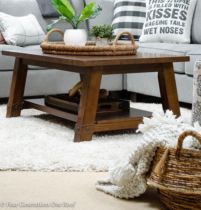 Lady Loft Attic Living Room Grey Sectional rustic barn media console brown coffee table shag rug