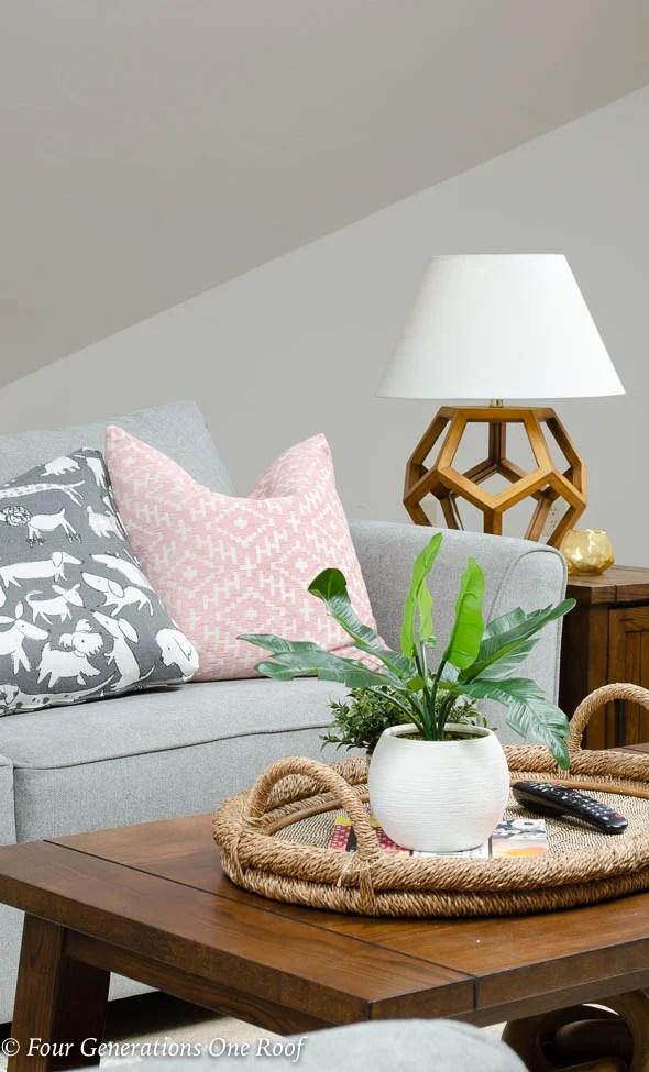 Lady Loft Attic Living Room Grey Sectional rustic barn media console brown coffee table shag rug -12