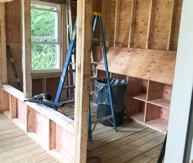 walk in chicken coop, partition wall, nesting boxes