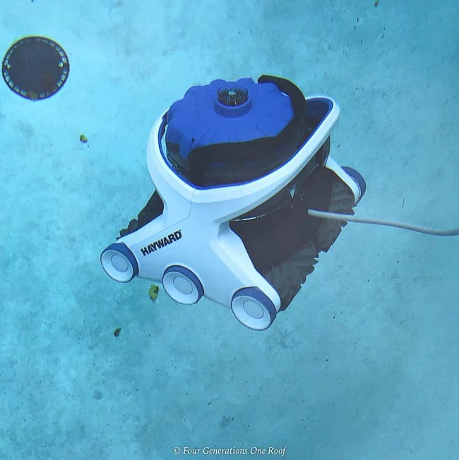 best pool cleaning robot - Hayward AquaVac 6 Series robotic pool cleaner floating to bottom of pool