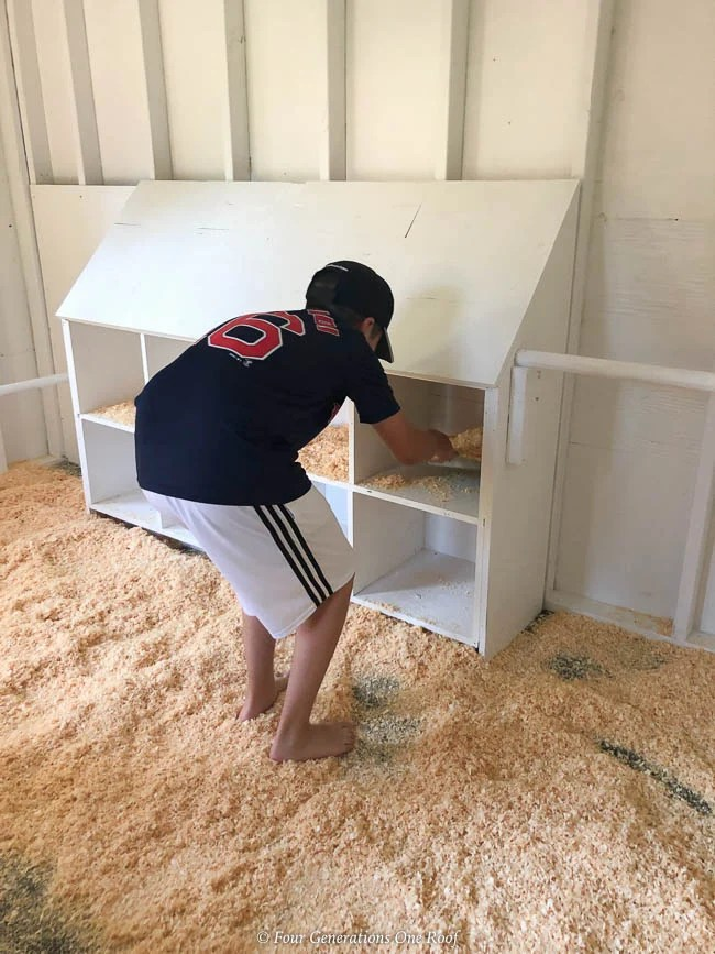 Chicken Coop White Interior with Nesting Boxes, rubber floor mats, diy screen window