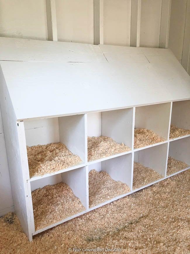 Chicken Coop White Nesting Boxes, rubber floor mats, shavings