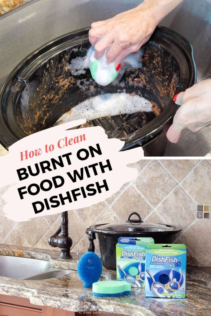 How to clean a crock pot with burnt on food - DishFish Scrubber