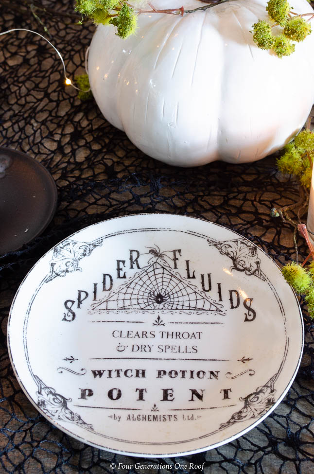 black and white apothecary halloween dishes