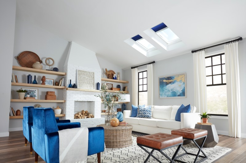VELUX skylights with blue blinds white living room coolest-no-leak-solar-powered-velux-skylights