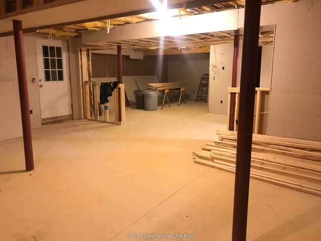 basement walls with lally columns and sheetrock