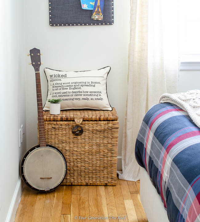 white guest bedroom, bango, seagrass basket, massachusetts wicked pillow, plaid bedding
