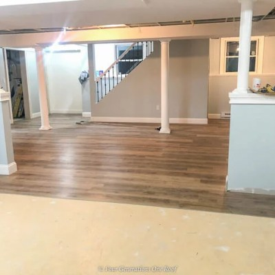 Harvest Oak Rigid Core Vinyl Flooring in basement over cement