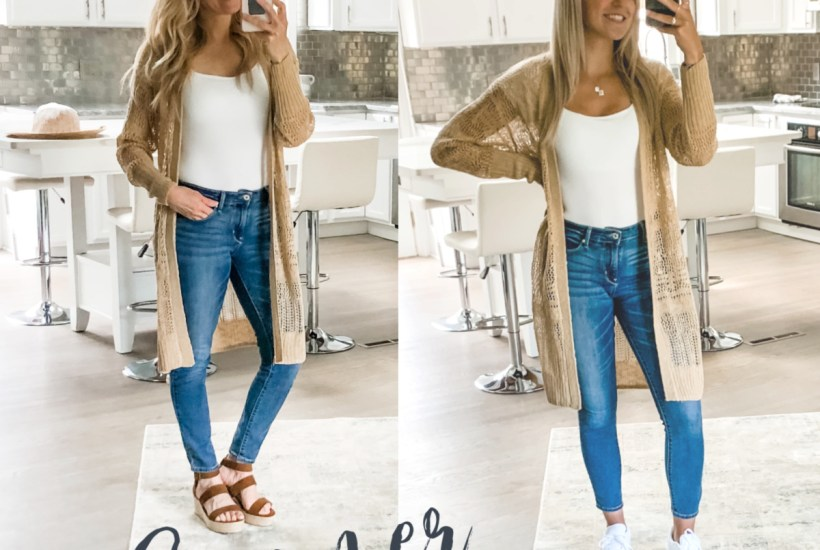 Walmart brown lightweight long cardigan with jeans