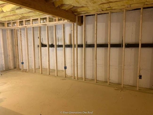 2x4 framed wall over foundation basement cement walls