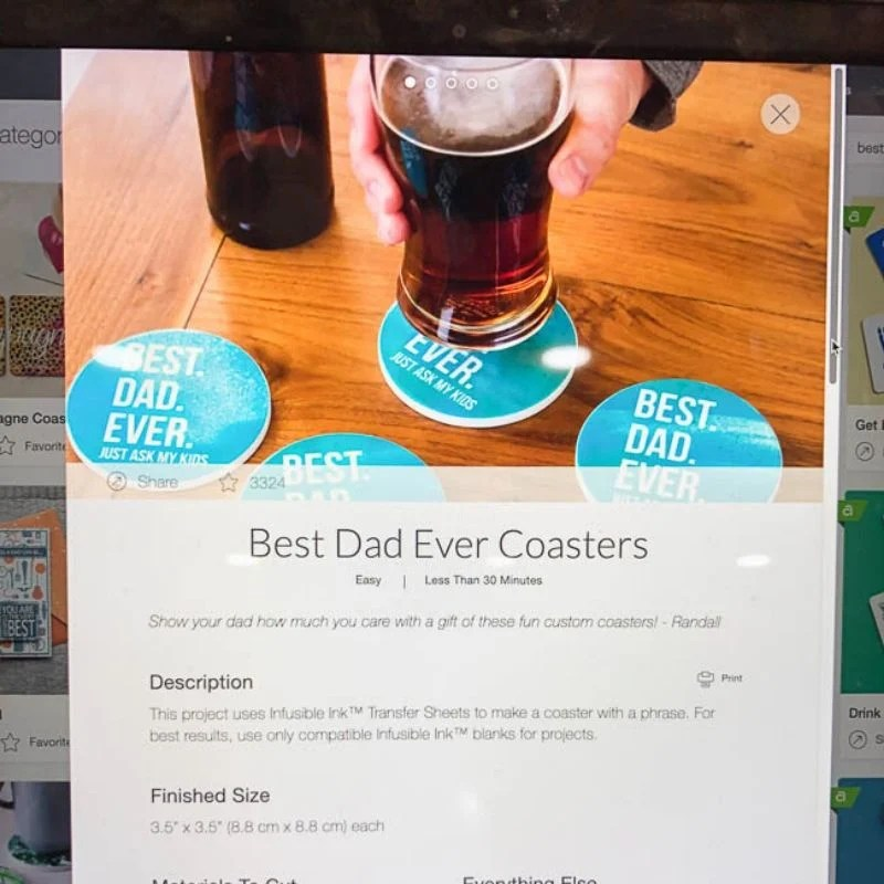 diy best dad ever coasters