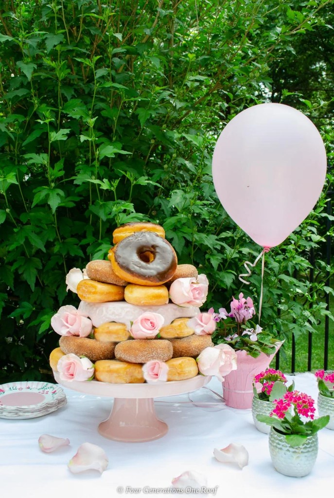 bridal shower favor and donut cake-