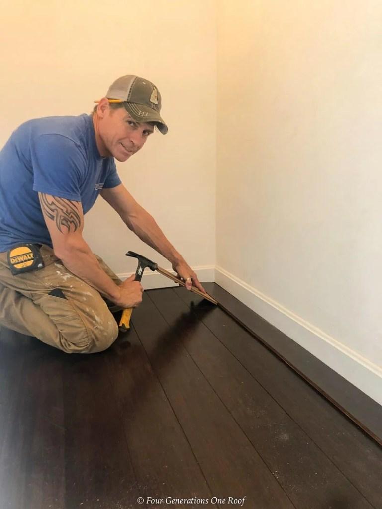 installing engineered hardwood under a baseboard