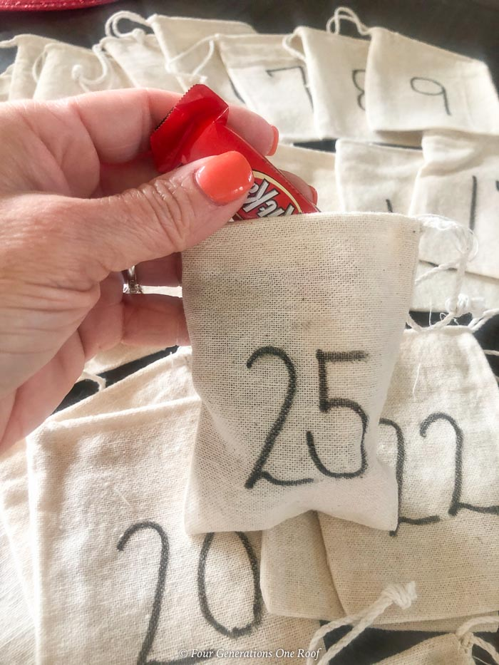 burlap satchels numbered 1 - 25 December advent bags