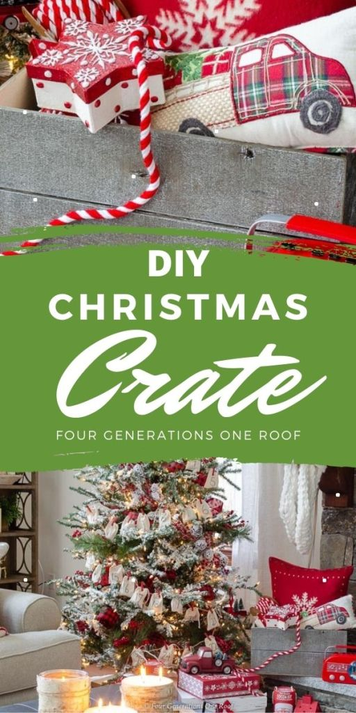 Gray Christmas Crate made with wood planks, red pillow, red flocked Christmas tree