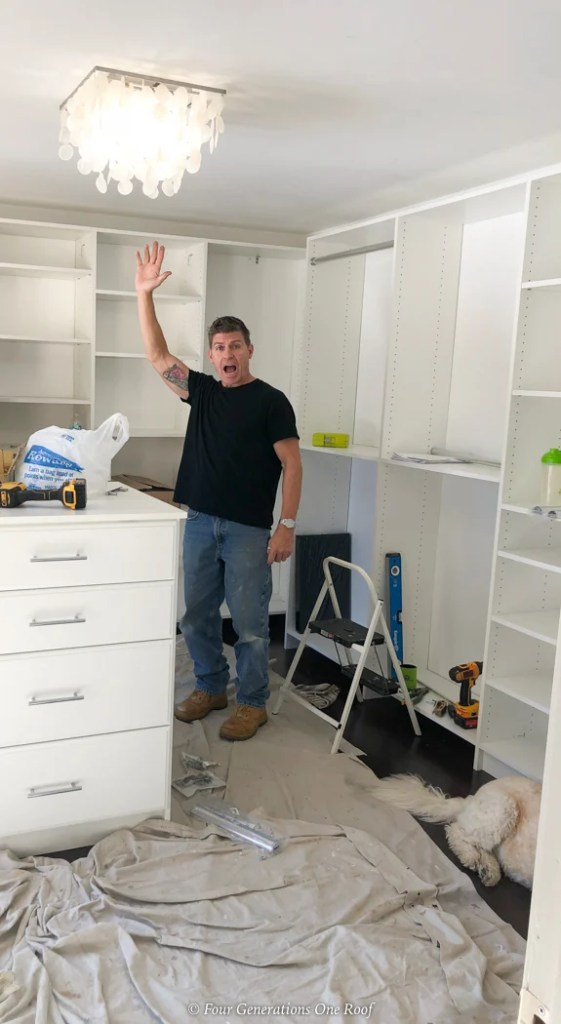 white closet system walk in closet with island