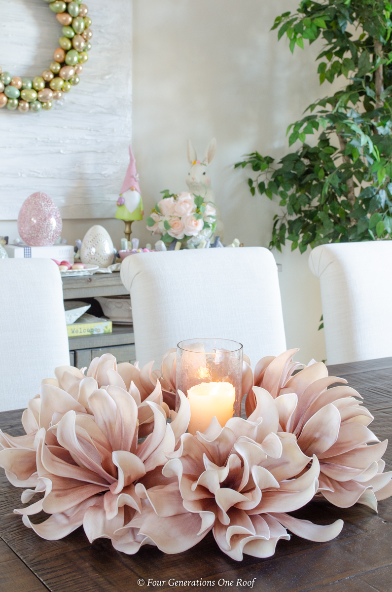 dusty rose silk wreath with candlestick table centerpiece