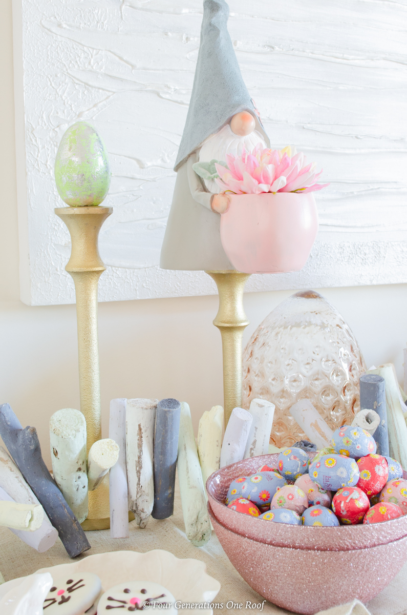 gold candlesticks, Easter gnomes, rose gold glitter bowl, Easter candy, coastal wood garland