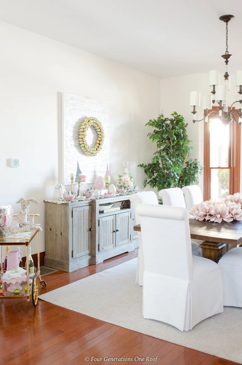 Easter Dining Room Decorating Ideas with bunny station
