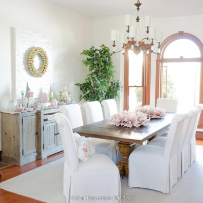 Easter Dining Room Decorating Ideas with a bunny station
